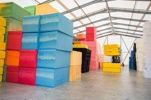Foam in a warehouse